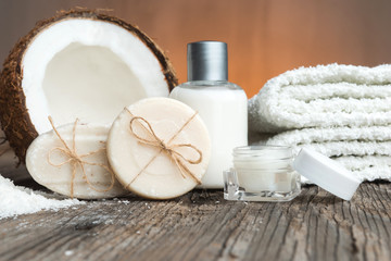 Bars of soap, coconut and face cream-spa setting