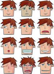 Set of 12 facial expressions