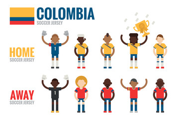 Colombia soccer icons flat design