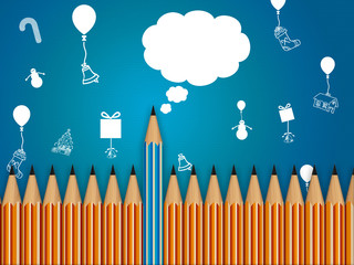 pencil with speech bubble, celebration background