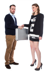 Man receives suitcase from lady
