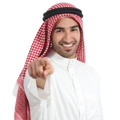 Arab saudi emirates man pointing you at camera