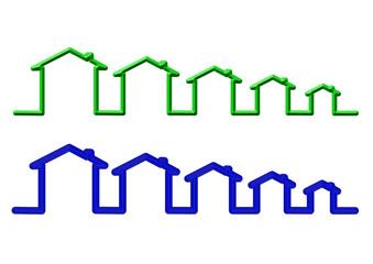 mavi yeşil çizgili ev sembolü