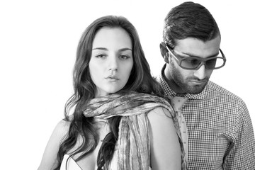 Cool trendy couple, black and white portrait