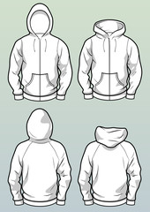 Zip hoodies front and back white template