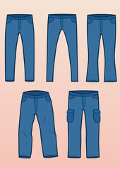 Set of 5 most common jeans types