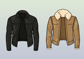 Classic and aviator style leather jacket