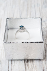 Engagement ring with gem in a box