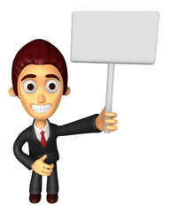 3D Business man Mascot hand is holding a Big advert board. Work