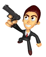 3D Business man Mascot fire an aimed shot a automatic pistol. Wo