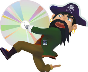 Internet pirate stealing a copyrighted CD