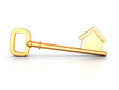 Golden home key with house silhouette - 66018540