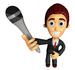 3D Business man Mascot is holding a microphone. Work and Job Cha