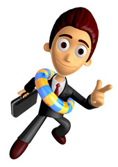 3D Business man Mascot Pointing fingers gesture of anger wearing