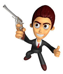 3D Business man Mascot the right hand best gesture and left hand