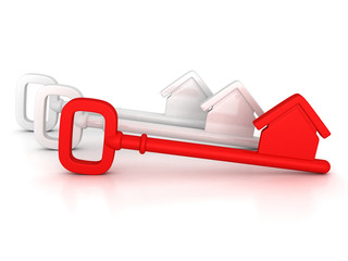 red home key with house silhouette
