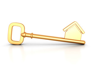 Golden home key with house silhouette
