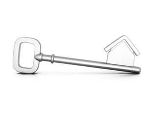 metallic home key with house silhouette