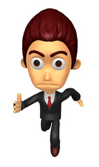 3D Business man character on Running. Work and Job Character Des