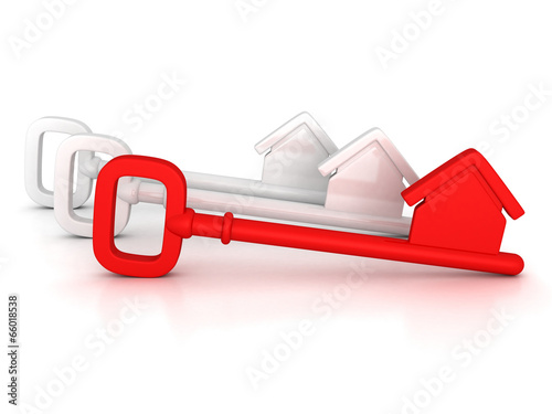 red home key with house silhouette - 66018538