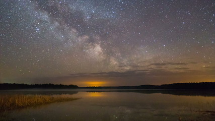 Bright Milky Way at the lake Plisa (Belarus, Eastern Europe)