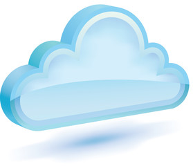 Shiny 3D cloud icon with shadow