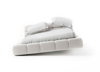 Jumping Bed on White Background, render