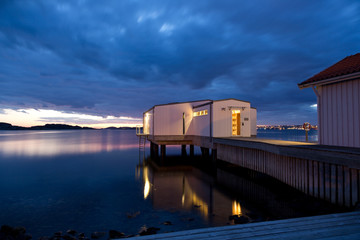 Bath house on a pier in Fiskebackskil, Sweden