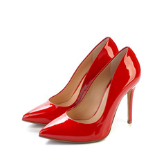 Red high heel women classic shoes on white background
