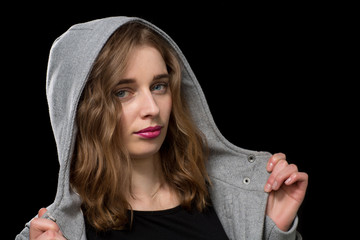 Girl Wearing Gray Hood Portrait
