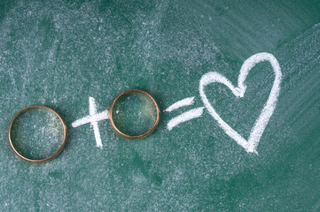 Wedding rings on blackboard