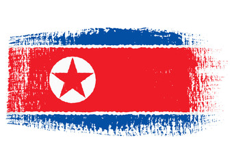 brushstroke flag North Korea