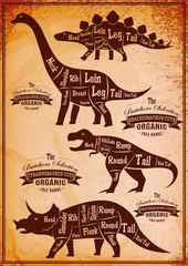 collection of dinosaurs with their cutting scheme