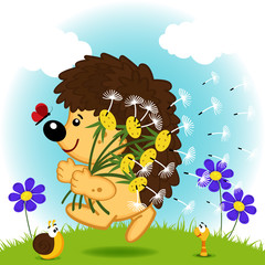 hedgehog with dandelions - vector illustration, EPS
