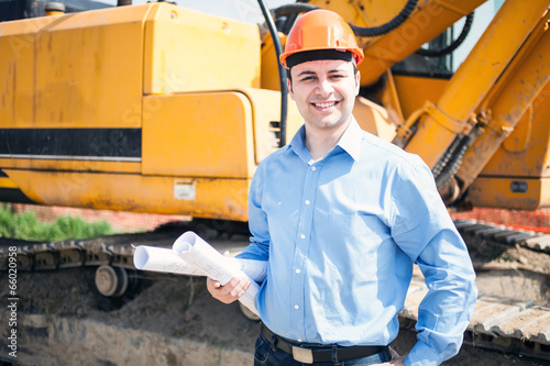 Architect in a construction site