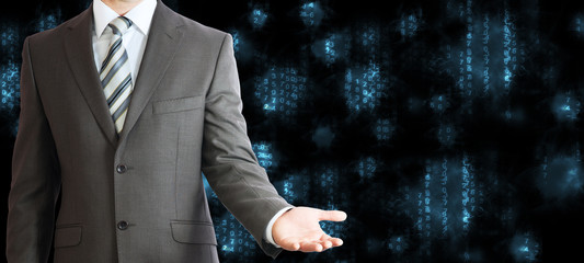 Businessman in a suit. Blue glowing figures