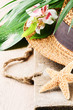 Summer holiday setting with straw hat