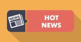 Hot News on Orange in Flat Design.