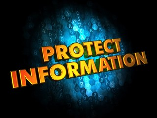 Protect Information - Gold 3D Words.