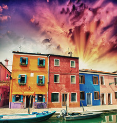 Colourful homes of Burano in the province of Venice