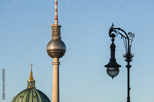 canvas print picture Abend-Silhouette Berlin Mitte