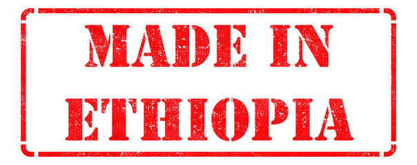 Made in Ethiopia - inscription on Red Rubber Stamp.