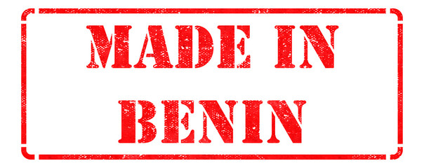 Made in Benin - inscription on Red Rubber Stamp.