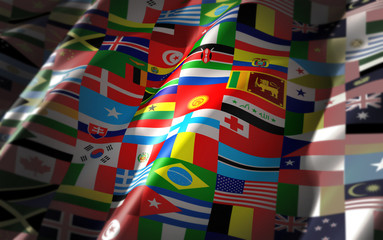 world flags on one colorful flag