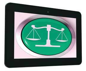Scales Of Justice Tablet Means Law Trial