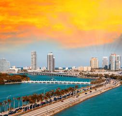Macarthur Causeway in Miami Beach