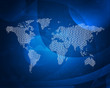 Glowing figures and world map. Hi-tech background
