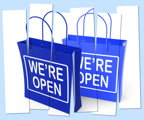 We're Open Shopping Bags Show Grand Opening or Launch