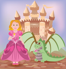 Cute princess and little dragon, vector illustration