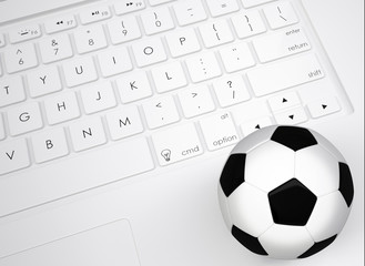 Soccer ball on the keyboard